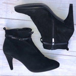 Ecco Heels, Black Suede Size 4.  GUC